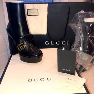 GUCCI Black Leather Heel Boots